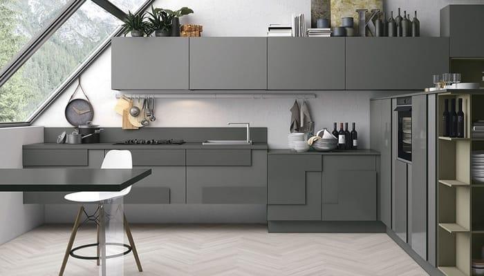 آشپزخانه با رنگ خاکستری