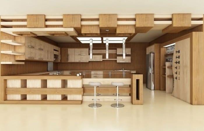 کابینت آشپزخانه MDF با روکش چوب